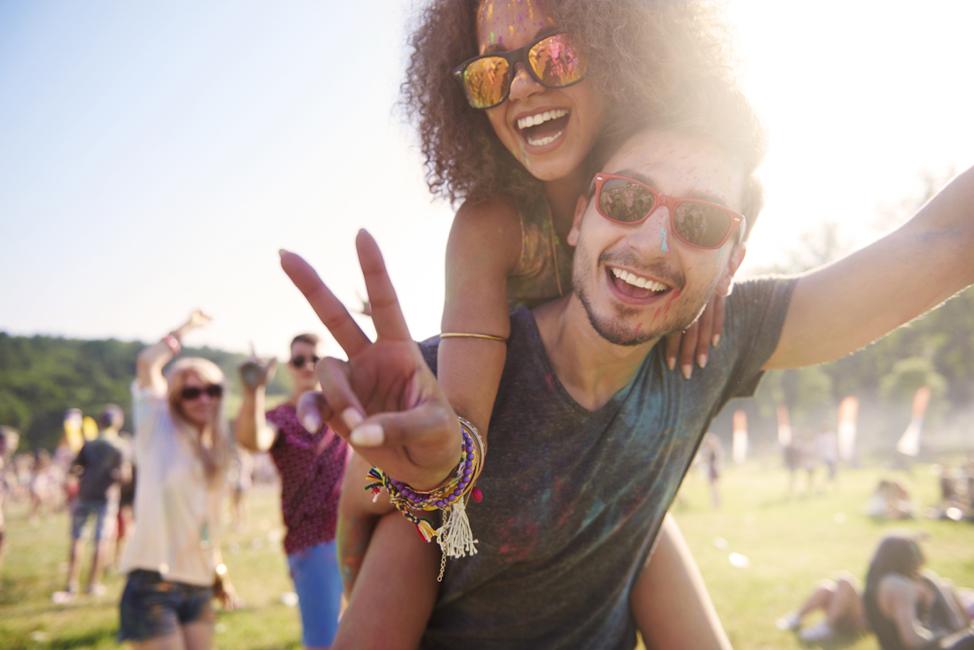 Happy festival goers