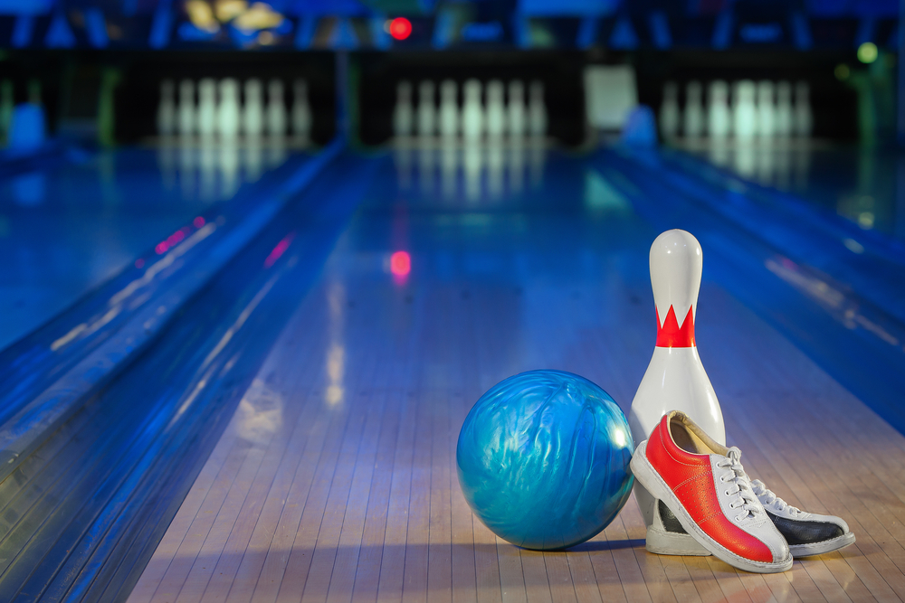 Bowling Ball and Pin with Shoes
