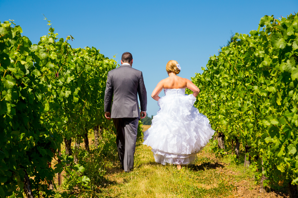 Married Couple Walking Through a Vineyard at a Winery After Getting Married
